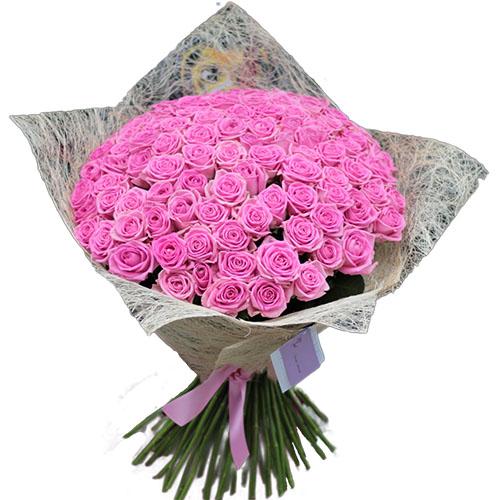 """букет 101 розовая роза """"Аква"""""""