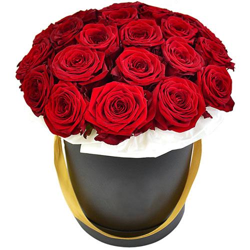 фото 21 троянда в капелюшній коробці
