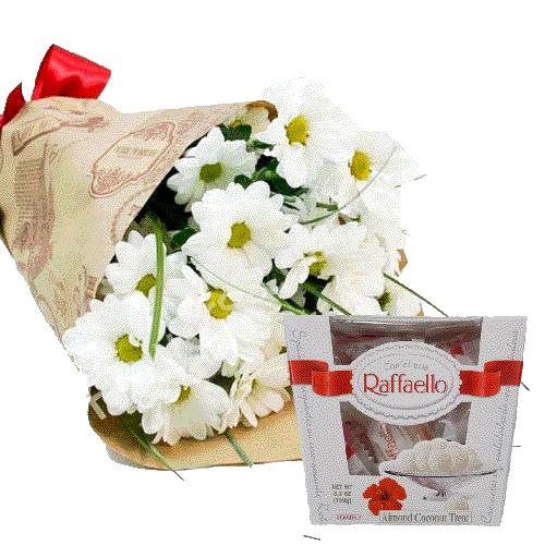 подарунок 3 хризантеми з цукерками