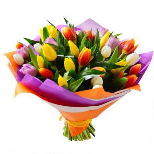 букет 49 тюльпанов микс