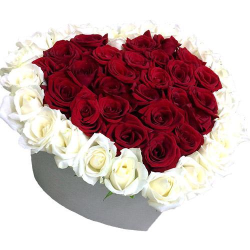 51 троянда серце у спеціальній коробці фото