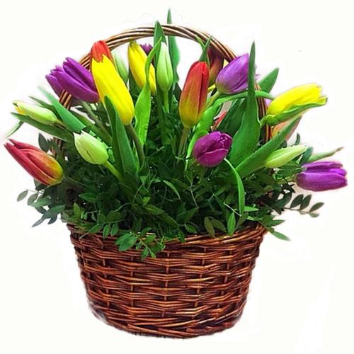 букет к празднику 15 тюльпанов в корзине