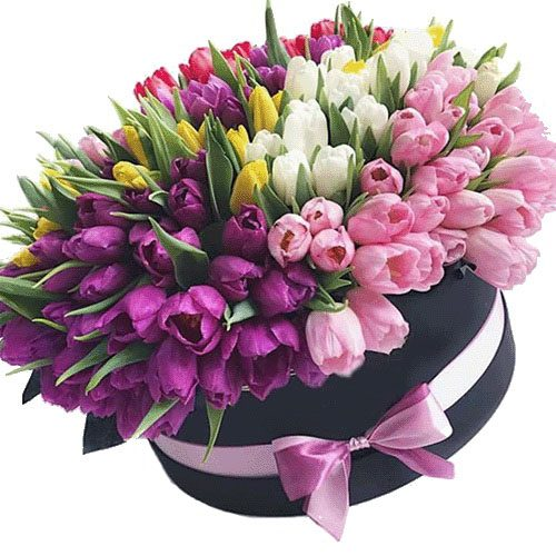букет 151 тюльпан в шляпной коробке