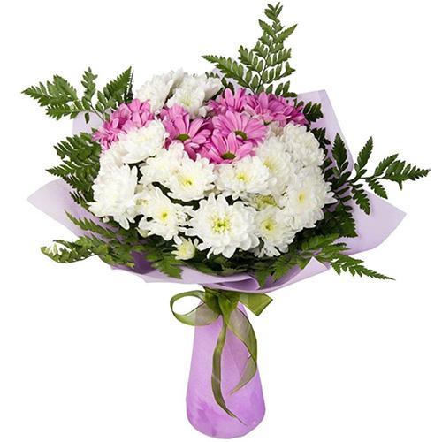 """Букет """"Солнышко"""" хризантемы белые и розовые"""