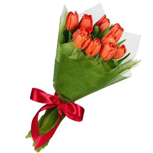 букет 11 червоних тюльпанів