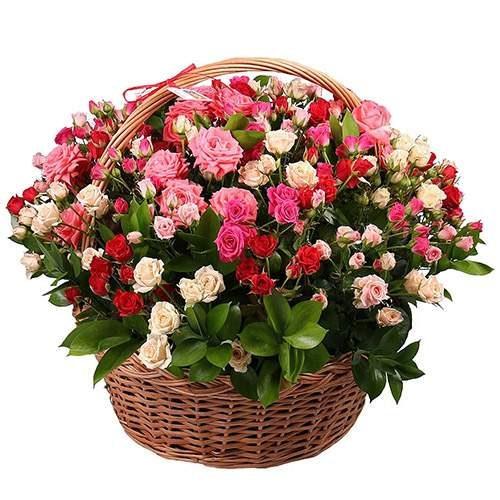 букет 101 кущова троянда в кошику фото