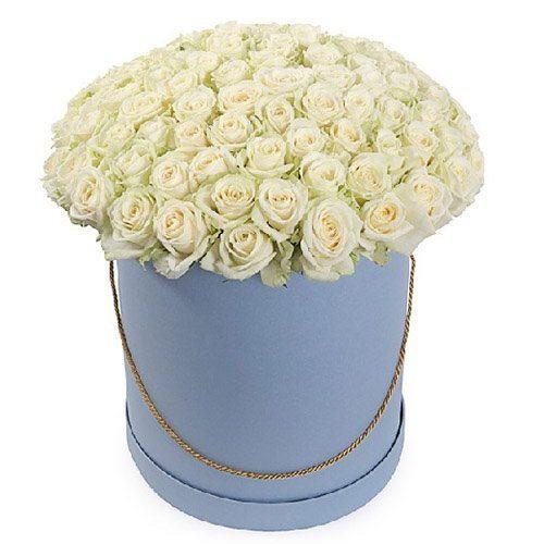 букет 101 троянда біла у капелюшній коробці