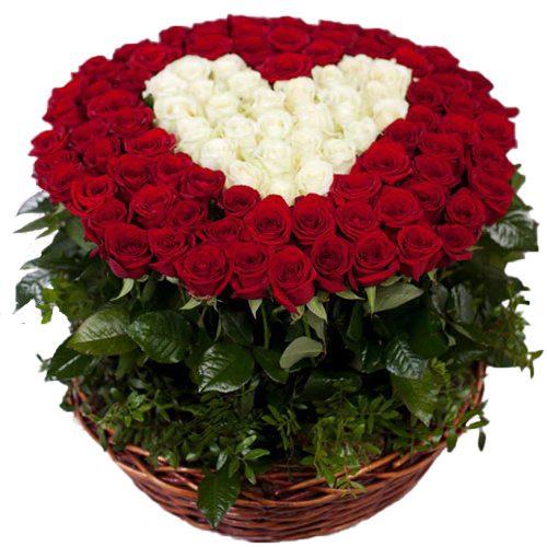 товар 101 роза сердце в корзине фото