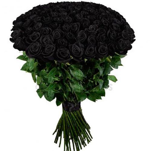 букет 101 чорна троянда