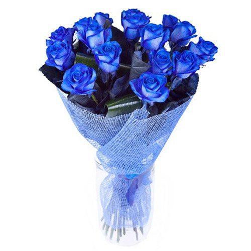 букет 17 синих роз (крашеных)