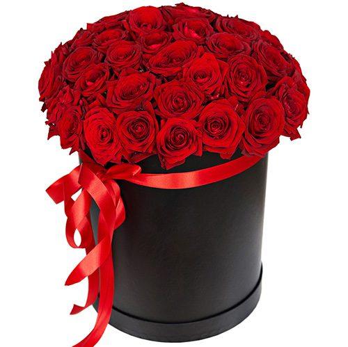 фото букета 51 троянда червона у капелюшній коробці