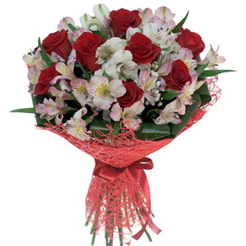 """Букет """"Коррида"""" красные розы и альстромерии"""