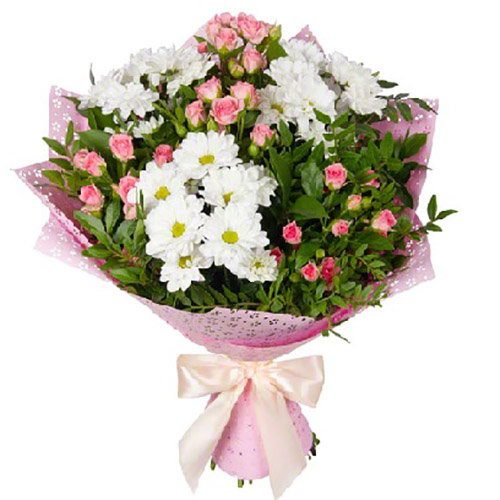 "Букет ""Маячок"" кущова троянда та хризантеми"