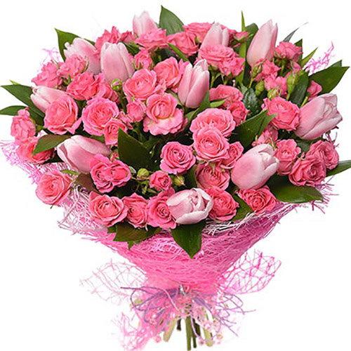"""Букет """"Чары"""" розы и тюльпаны"""