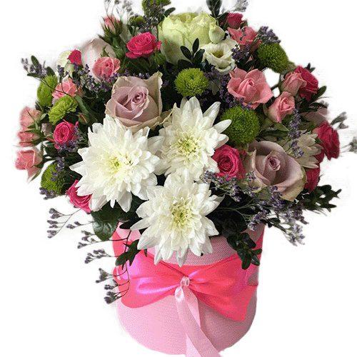 Коробка «Ніжність» троянди, хризантеми