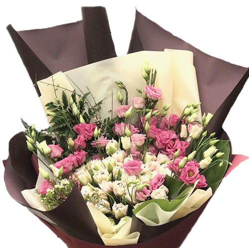букет Кущова троянда з еустомою