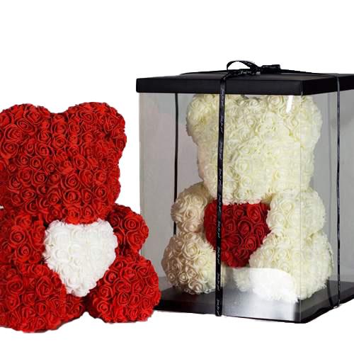 Ведмедик з троянд подарунок фото