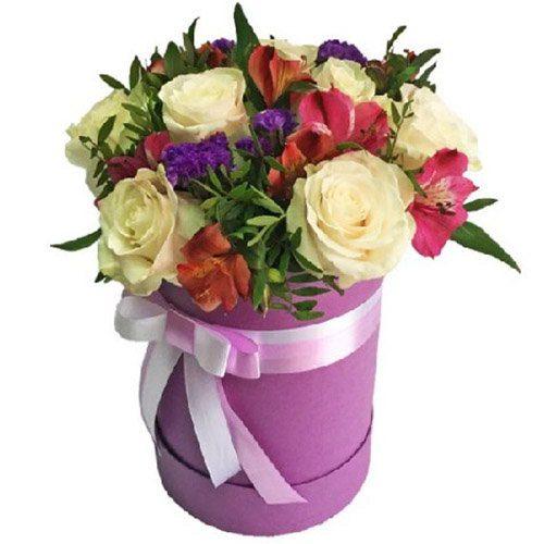"""Капелюшна коробка """"Блюз"""" яскравий мікс квітів"""