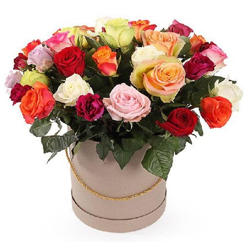"""Капелюшна коробочка """"Фієста"""" різнокольорові троянди"""