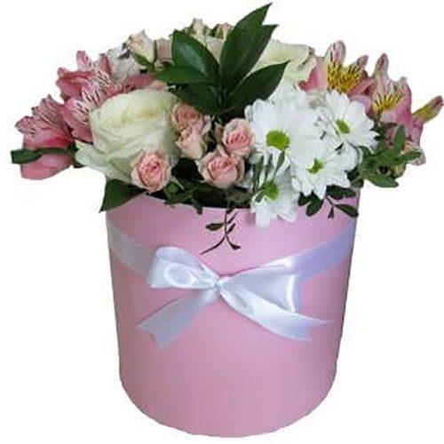 """Капелюшна коробочка """"Флорида"""" троянди, кущовка, хризантеми, альстромерії"""