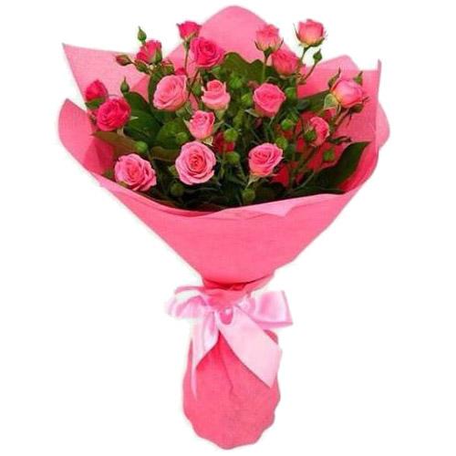"""Букет """"С Добрым утром"""" кустовые розовые розы"""
