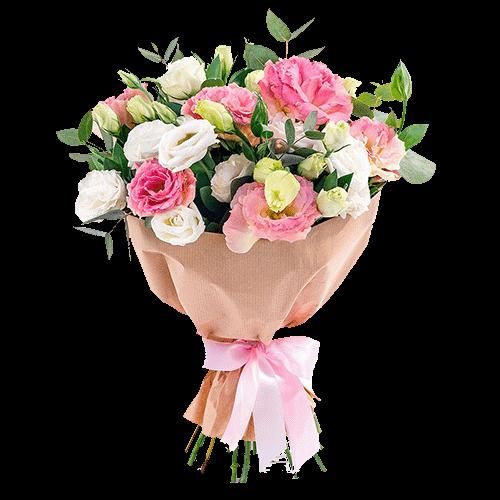 """Букет """"Дай мне шанс"""" розовые и белые эустомы"""
