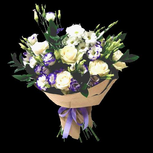 """Букет """"Искушение любовью"""" розы, эустомы и хризантемы"""