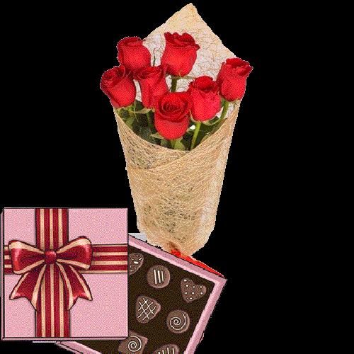 подарок 7 красных роз с конфетами