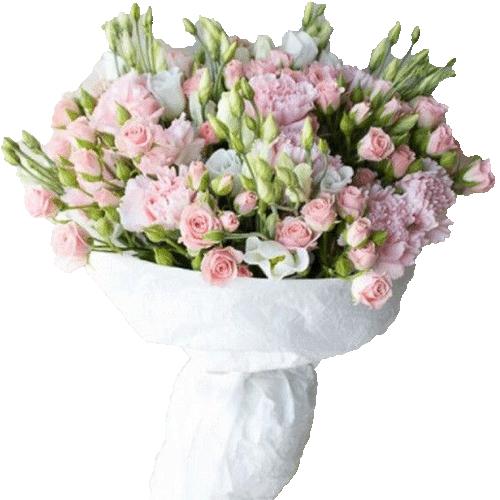 """Букет """"Любимой"""" белые и розовый цветы микс"""