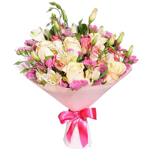 """Букет """"Нечто чудесное"""" розы и альстромерии"""