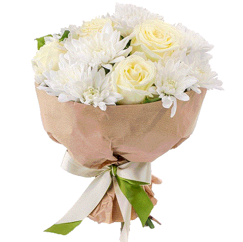 """Букет """"Радостный"""" белые розы и хризантемы"""