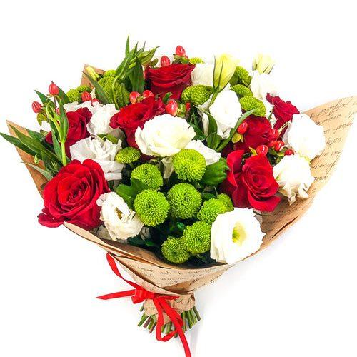 """Букет """"Глоток любви"""" розы, эустомы, зеленые хризантемы"""