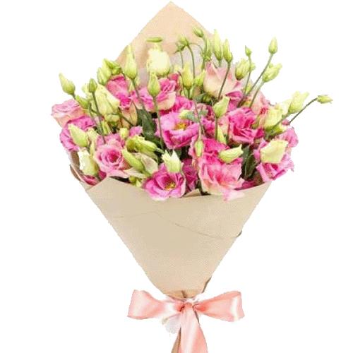 """Букет """"Юная любовь"""" розовые эустомы"""