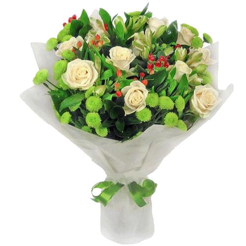 """Букет """"Юная леди"""" белые розы, зеленые хризантемы"""