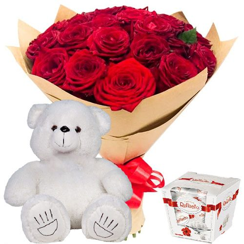 """товар 25 роз, """"Raffaello"""" и мишка"""
